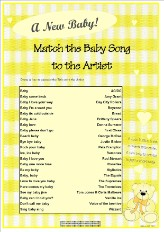 free printable baby shower games match the song title to the artist